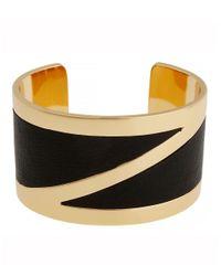 Rachel Zoe | Metallic 12K Gold Plate And Leather Cuff Bracelet | Lyst