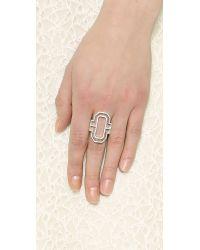 Fallon - Metallic Emerald Cut Silhouette Ring - Rhodium - Lyst