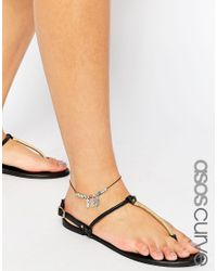 Asos Curve | Multicolor Feather & Bead Cord Anklet | Lyst