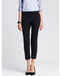 Banana Republic | Blue Sloan-fit Faux-leather Trim Ankle Pant | Lyst