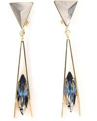 Iosselliani Blue Geometric Floral Clipon Earrings