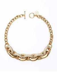 Ann Taylor | Metallic Estate Pave Link Necklace | Lyst