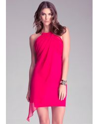 Bebe Pink Draped Overlay Dress
