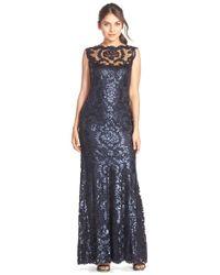 Tadashi Shoji | Blue Sequin Lace Mermaid Gown | Lyst