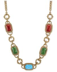 2028 Metallic Gold-Tone Multi-Color Stone Frontal Necklace