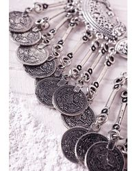 Missguided | Metallic Statement Layered Coin Necklace Silver | Lyst