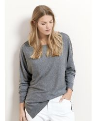 Violeta by Mango - Gray Cotton Wool-blend Sweater - Lyst