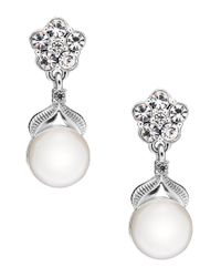 Nadri Metallic Sparkling Pearl Semi-drop Earrings