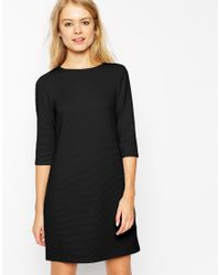 ASOS - Black Shift Dress In Jumbo Rib With 3/4 Sleeves - Lyst