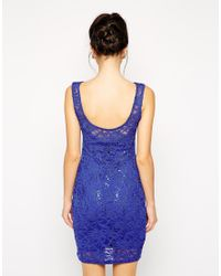 Lipsy - Blue Sequin Lace Bodycon Dress - Lyst