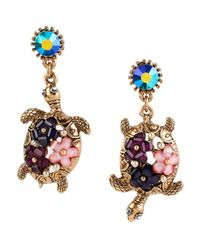 Betsey Johnson | Multicolor Into The Blue Floral Turtle Mismatch Drop Earrings | Lyst