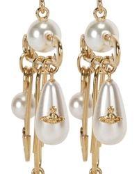 Vivienne Westwood | Metallic Jordan Long Gold-Plated Faux Pearl Earrings | Lyst