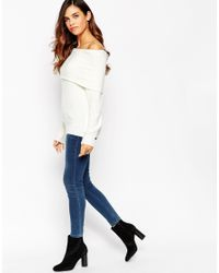 ASOS - Natural Tall Jumper With Bardot Neck - Lyst