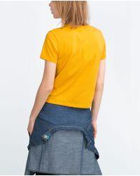 Zara | Yellow Retro T-shirt | Lyst