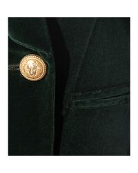 Balmain - Green Double-breasted Velvet Blazer - Lyst