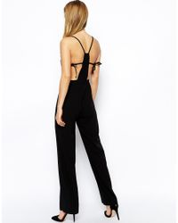 ASOS | Black Jumpsuit With Wide Leg And Tie Detail | Lyst