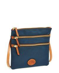 Dooney & Bourke | Blue Triple Zip Nylon Crossbody Bag | Lyst