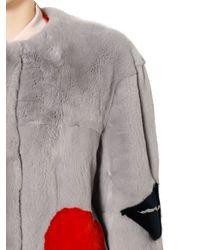 MSGM Gray Rabbit Fur W Lips Heart Coat
