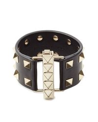 Valentino | Metallic Leather Rockstud Cuff - Black | Lyst