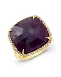 Anne Sisteron | 14kt Yellow Gold Ruby Diamond Cocktail Ring | Lyst