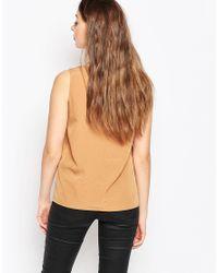 Vero Moda - Brown Sleeveless Vest With Pleat Detail - Lyst