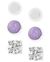 Jones New York | Metallic Silver-tone Purple Stone And Crystal Stud Trio Earring Set | Lyst