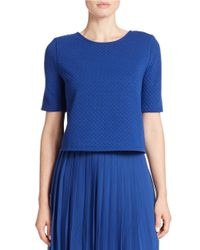 Kensie | Blue Jacquard Knit Cropped Top | Lyst