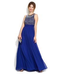 JS Collections - Blue Sleeveless Beaded Empire-Waist Gown - Lyst