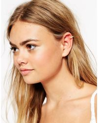 ASOS Metallic Ear Cuff With Mini Faux Pearls