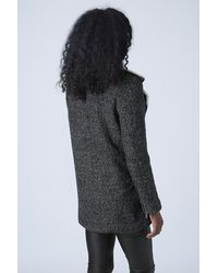 TOPSHOP Gray Cross Over Wool And Fleece Style Coat By Rare