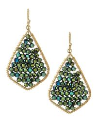 Nakamol | Green Crystal Beaded Feather Earrings Emerald | Lyst