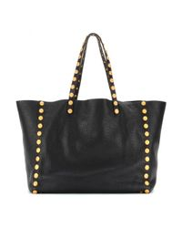 Valentino Black Gryphon Studs Leather Shopper
