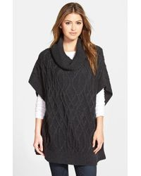 Caslon | Gray Cowl Neck Cable Knit Sweater Cape | Lyst