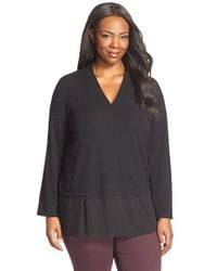 Ellen Tracy | Black Georgette Hem V-neck Top | Lyst