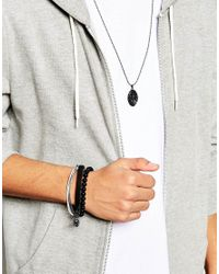 ASOS - Necklace And Bracelet Pack In Black With Coin Charm for Men - Lyst