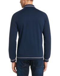 BOSS - Blue 'college Jacket Zip'   Cotton Blend Knit Track Jacket for Men - Lyst