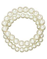 John Lewis - White Double Faux Pearl Bracelet - Lyst
