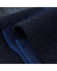 Reiss Blue Hamish Check Wool Scarf for men