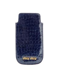 Miu Miu Blue Snakeembossed Patentleather Iphone Case