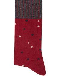 Alto Milano | Red Diamond Short Socks | Lyst