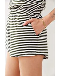 BDG Green Striped Scoop-back Romper