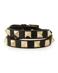 Valentino | Metallic Double-wrap Leather Rockstud Bracelet | Lyst