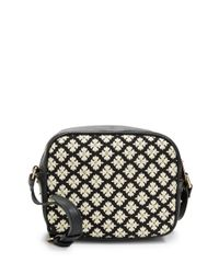 Kensie | Black Floral-trimmed Faux Leather Crossbody | Lyst