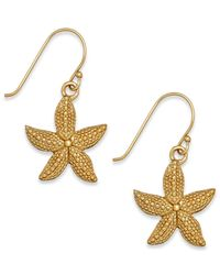 Macy's | Metallic Textured Starfish Drop Earrings In 24k Gold Over Sterling Silver | Lyst