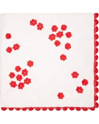 Simone Rocha Pink Mesh Floral Embroidered Scarf