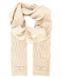 Ferragamo - Natural Gancini Cable Knit Scarf - Lyst