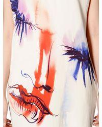 MSGM White Face Printed Viscose Jersey Dress