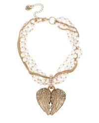 Betsey Johnson | Metallic Heaven Sent Faux Pearl Heart Pendant Necklace | Lyst