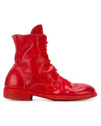 Guidi Red Combat Boots for men