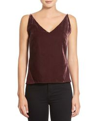 J Brand | Red J Brand 'lucy' Velvet Front Camisole | Lyst